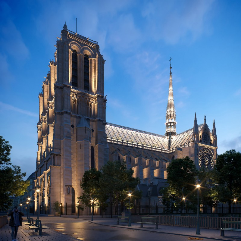 Notre-Dame with a reconstructed spire and glass roof - MASTER OF CEREMONY RECOMMENDS 4U