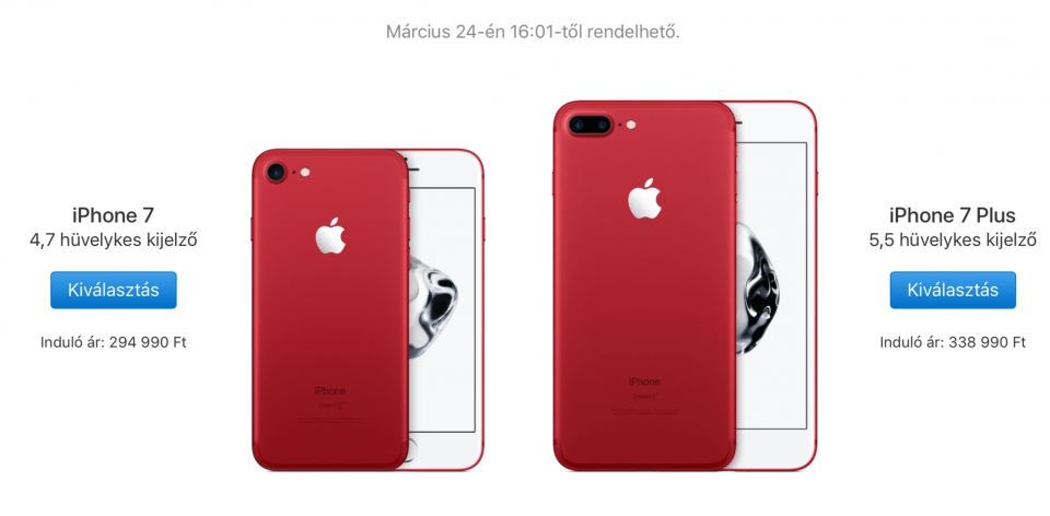 Apple (PRODUCT)RED -piros iPhone 7 - Ceremóniamester ajánlja